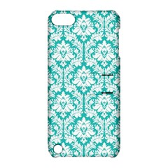 White On Turquoise Damask Apple iPod Touch 5 Hardshell Case with Stand