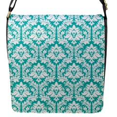Turquoise Damask Pattern Flap Closure Messenger Bag (S)