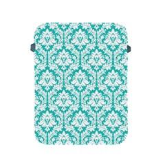 White On Turquoise Damask Apple Ipad Protective Sleeve