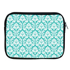 White On Turquoise Damask Apple Ipad Zippered Sleeve