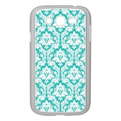 White On Turquoise Damask Samsung Galaxy Grand DUOS I9082 Case (White)