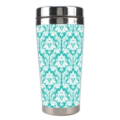 White On Turquoise Damask Stainless Steel Travel Tumbler