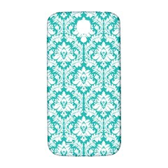 White On Turquoise Damask Samsung Galaxy S4 I9500/I9505  Hardshell Back Case