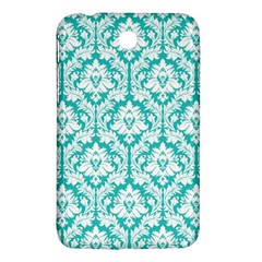 White On Turquoise Damask Samsung Galaxy Tab 3 (7 ) P3200 Hardshell Case