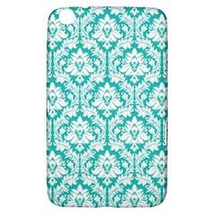 White On Turquoise Damask Samsung Galaxy Tab 3 (8 ) T3100 Hardshell Case