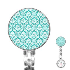 White On Turquoise Damask Stainless Steel Nurses Watch
