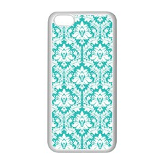 White On Turquoise Damask Apple iPhone 5C Seamless Case (White)
