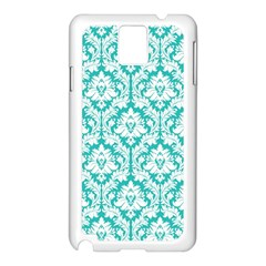 White On Turquoise Damask Samsung Galaxy Note 3 N9005 Case (White)