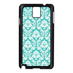 White On Turquoise Damask Samsung Galaxy Note 3 N9005 Case (Black)