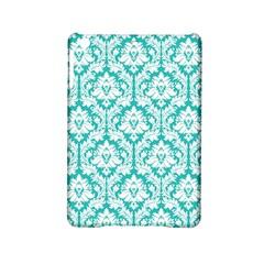 White On Turquoise Damask Apple iPad Mini 2 Hardshell Case