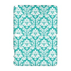 White On Turquoise Damask Samsung Galaxy Note 10 1 (p600) Hardshell Case