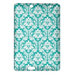 White On Turquoise Damask Kindle Fire HD 7  (2nd Gen) Hardshell Case