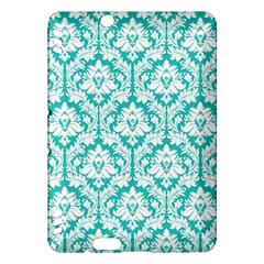 White On Turquoise Damask Kindle Fire Hdx 7  Hardshell Case