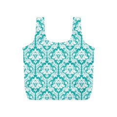 Turquoise Damask Pattern Full Print Recycle Bag (s)