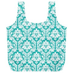 Turquoise Damask Pattern Full Print Recycle Bag (XL)