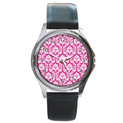 White On Hot Pink Damask Round Leather Watch (Silver Rim)