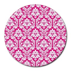 White On Hot Pink Damask 8  Mouse Pad (round)
