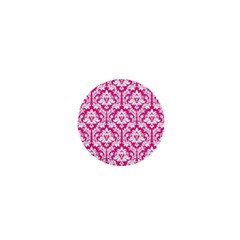 White On Hot Pink Damask 1  Mini Button Magnet