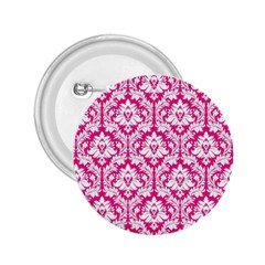 White On Hot Pink Damask 2.25  Button