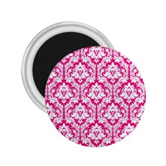 White On Hot Pink Damask 2.25  Button Magnet