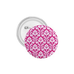White On Hot Pink Damask 1.75  Button