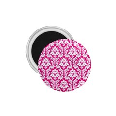 White On Hot Pink Damask 1.75  Button Magnet