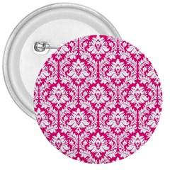 White On Hot Pink Damask 3  Button