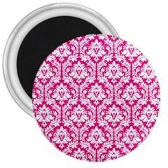 White On Hot Pink Damask 3  Button Magnet