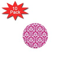 White On Hot Pink Damask 1  Mini Button (10 Pack)