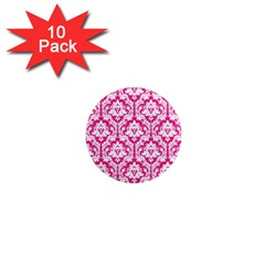 White On Hot Pink Damask 1  Mini Button Magnet (10 pack)