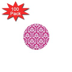 White On Hot Pink Damask 1  Mini Button (100 Pack)
