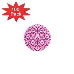 White On Hot Pink Damask 1  Mini Button Magnet (100 Pack)
