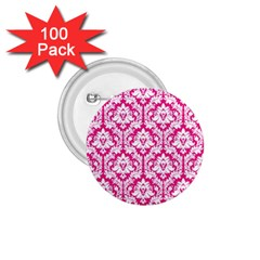 White On Hot Pink Damask 1 75  Button (100 Pack)