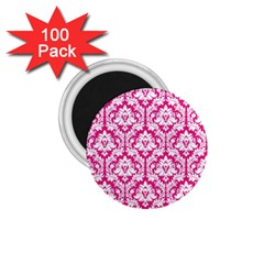 White On Hot Pink Damask 1.75  Button Magnet (100 pack)