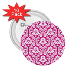 White On Hot Pink Damask 2 25  Button (10 Pack)