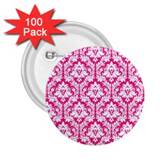 White On Hot Pink Damask 2 25  Button (100 Pack)