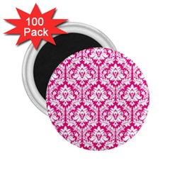 White On Hot Pink Damask 2.25  Button Magnet (100 pack)