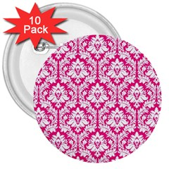 White On Hot Pink Damask 3  Button (10 pack)