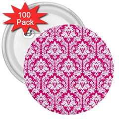 White On Hot Pink Damask 3  Button (100 pack)