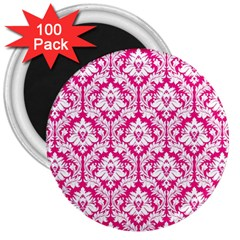 White On Hot Pink Damask 3  Button Magnet (100 pack)