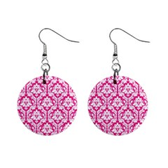 Hot Pink Damask Pattern 1  Button Earrings