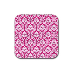 White On Hot Pink Damask Drink Coaster (Square)