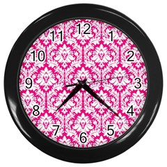 White On Hot Pink Damask Wall Clock (Black)