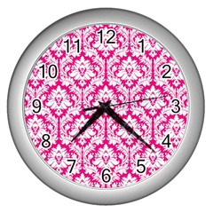 White On Hot Pink Damask Wall Clock (silver)