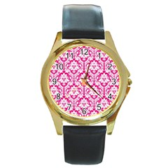 White On Hot Pink Damask Round Leather Watch (gold Rim)