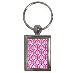 White On Hot Pink Damask Key Chain (Rectangle)