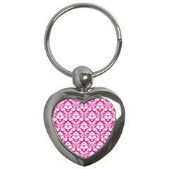 White On Hot Pink Damask Key Chain (Heart)