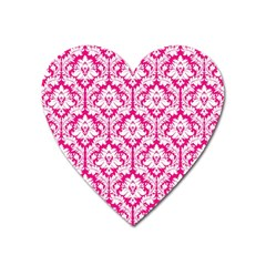 White On Hot Pink Damask Magnet (heart)