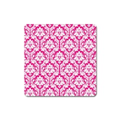 White On Hot Pink Damask Magnet (Square)