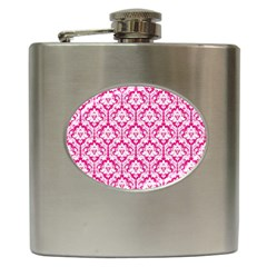 White On Hot Pink Damask Hip Flask